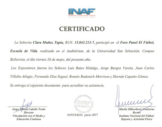 certificados de asistencia foro panel ftbol escuela de vida ya estn disponibles